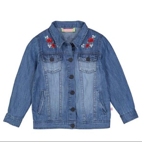 Sophie & Sam Blue Floral-Applique Denim Jacket